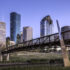 Houston Skyline and Buffalo Bayou Pedestrian Bridge